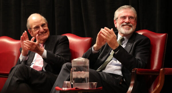 Senator George Mitchell and Gerry Adams at a Good Friday Agreement 20th anniversary event at the Library of Congress in Washington DC/ Pic: Niall Carson/PA Wire