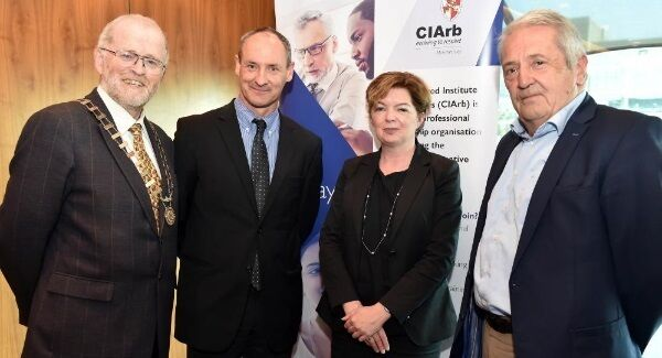 Bill Holohan, Dermot Flanagan SC, and Siobhán Stack SC, with Tom Tobin, of Comyn,Kelleher, Tobin solicitors lecture sponsors at the Chartered Institute of Arbitrators in Ireland lecture on Compulsory Purchase Order Arbitration at the Clayton Hotel.