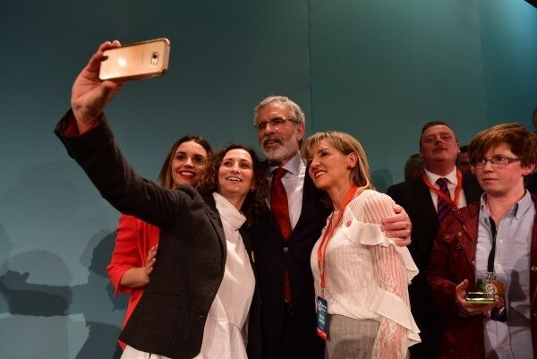 Adams takes a selfie with MEPs Lynn Boylan and Martina Anderson