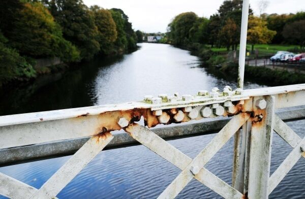 Rust on Daly's Bridge means the ironwork at key joints crumbles at a touch.