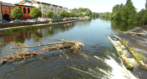 Debris on the weir, viewed from the bridge over the River Blackwater at Fermoy. Pic: Larry Cummins