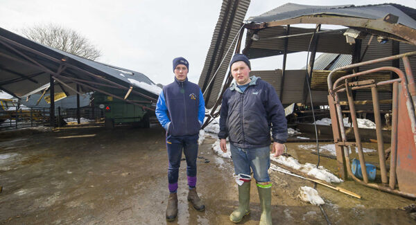 Andrew and David O'Keeffe at Karol Winters farm, Winterheights, Taghmon, Co Wexford, where the snow brought down farm sheds. Picture: Patrick Browne