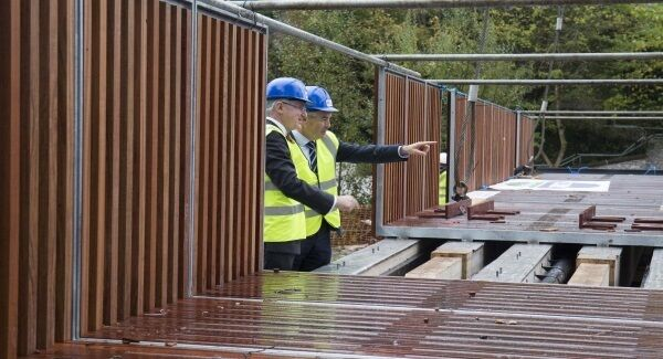 UCC president Prof Patrick O'Shea and Mark Poland, director of buildings and estates, examine the new pedestrian bridge from Perrott's Inch to the Lower Grounds on UCC's campus. Picture: Clare Keogh