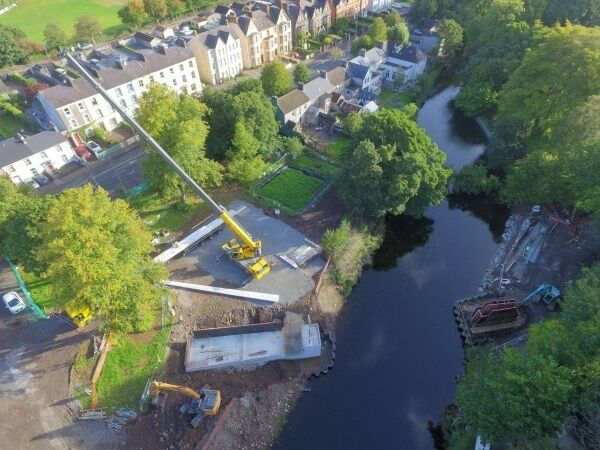 A crane working on UCC Perrott's Inch glulam pedestrian bridge. Picture: William O'Brien Group