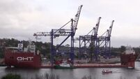 Check out the Albatross taking on three massive cranes at Cork Dockyard