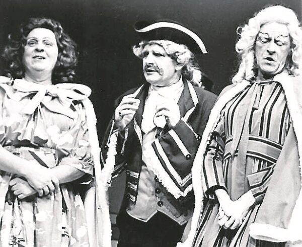 Paddy Comerford and Billa O'Connell as the Ugly Sisters, with Tony Hegarty in a production of Cinderella at Cork Opera House.