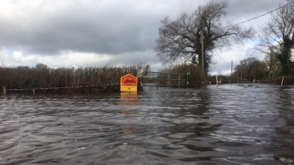 Life-buoys have been placed around the flooded roads of Springfield, Clonlara. Pic: David Raleigh