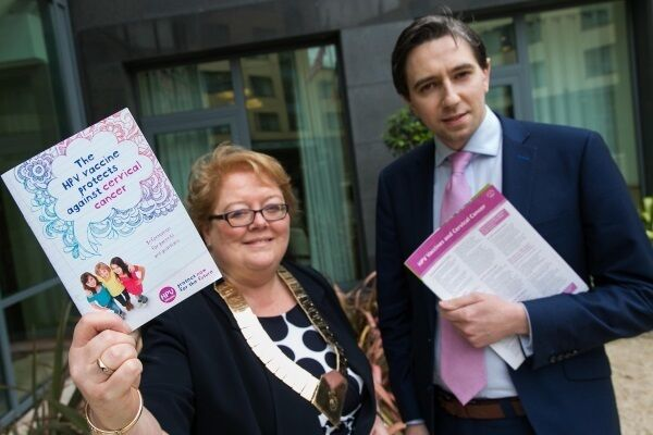 IMO president Dr Ann Hogan and Minister for Health Simon Harris promote the HPV vaccine. He blamed 'uninformed nonsense' for interfering with medical efforts to save lives.