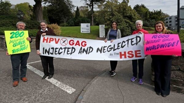 Protesters who oppose the HPV vaccine, Christy Cooper, Sean and Lisa Wynne, Virginia Hurley and Breda Wynne, outside the TUI annual congress at the Clayton Hotel Silver Springs last month. Sean Wynne believes there is a complex political manoeuvre by 'official Ireland' to ostracise anyone with reservations about Garadsil.