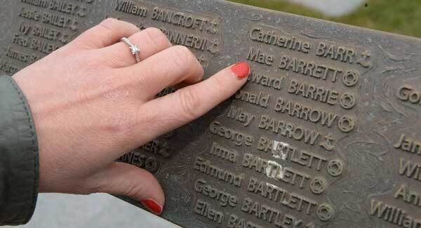 Amy McCarthy, Cork, pointing to the name of her great great grandmother Mae Barrett at the memorial. Picture Dan Linehan
