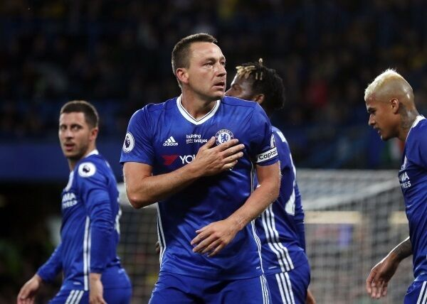 John Terry celebrates scoring his goal last night. Picture: Adam Davy