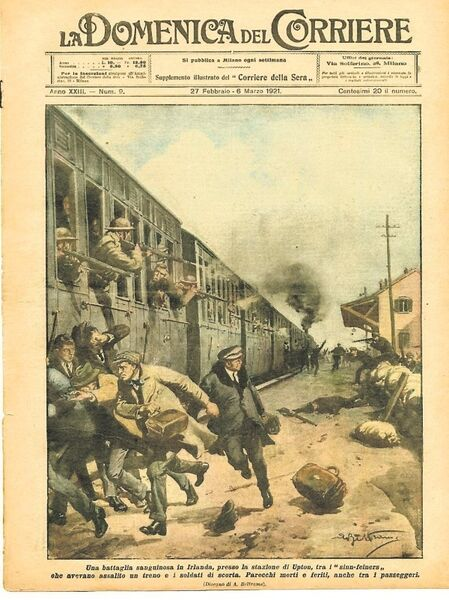 La Domenica del Corriere showing the IRA ambush in 1921 at Upton Station, Co Cork
