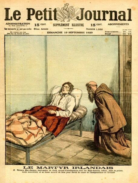 Front page of the French daily, Le Petit Journal, depicting the hunger strike of Cork's lord mayor, Terence MacSwiney, in Brixton Prison.