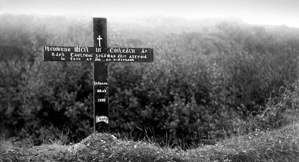 A memorial cross to Michael Collins placed at the scene of his death shortly after he was killed in 1922.