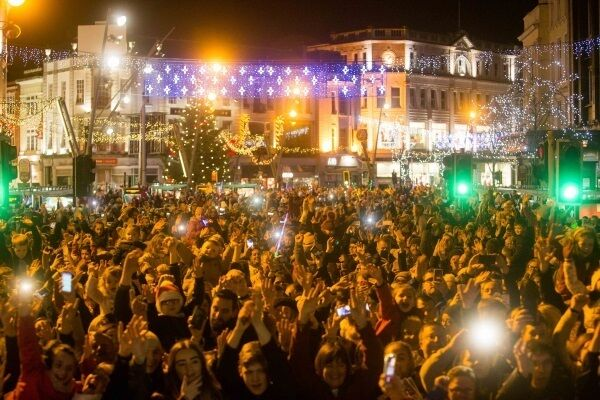 Thousands also turned out for the switching on of the Christmas Lights in Cork. See glowcork.ie. Picture: Darragh Kane