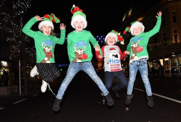 Molly Thompson, Jay Thompson, Kayleigh Bowles, and Cameron Thompson, Mallow, in festive mood in Cork. Picture: Larry Cummins