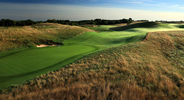 A view from behind the green on the 12th hole at Erin Hills, in Wisconsin. Businessman Bob Lang, who first bought and developed the course at the encouragement of Steve Trattner, was forced to sell at a loss of $10m after cost overruns. Picture: David Cannon