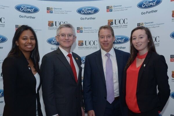 Quercus student, Sarah Jamell, Prof. Patrick G. O'Shea, President of UCC, William Clay Ford Jr, Executive Chairman, Ford Motor Company, and Quercus student Ciara Judge.