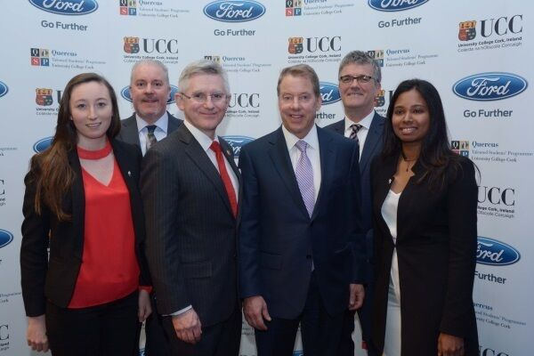 Quercus student Ciara Judge, Ciaran McMahon, Managing Director and Chairman, Ford Ireland, Prof. Patrick G. O'Shea, President of UCC, William Clay Ford Jr, Executive Chairman, Ford Motor Company, Prof. John O'Halloran, Director of Quercus Student Talent Programme and Quercus student Sarah Jamell.