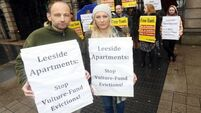 Residents facing eviction protest at the Dáil