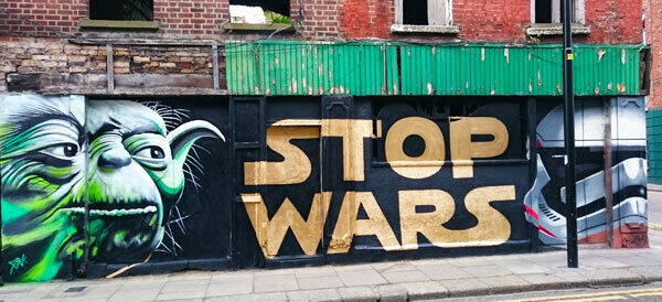 FiNK's pacifist offering 'Stop Wars'on Francis St, Dublin.