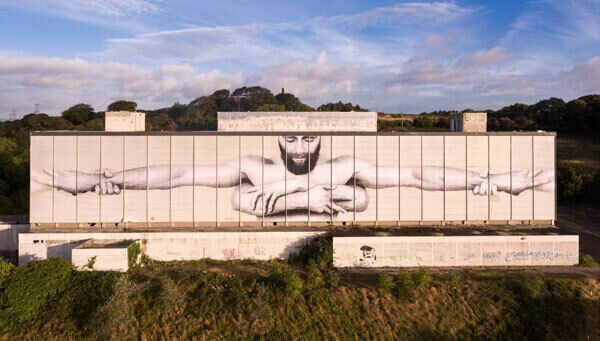 Joe Caslin's drawing, unveiled as part of the 2016 Waterford Walls Festival, is a message of support for those suffering mental health problems.