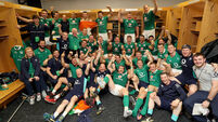 The Ireland team and management celebrate winning 5/11/2016