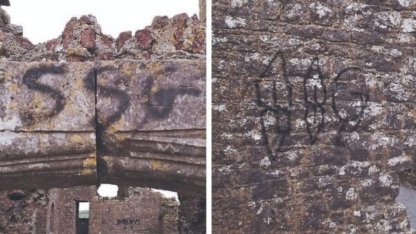 The Rock of Dunamase in Co Laois required €500 of repairs after its walls were damaged by graffiti.