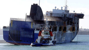 Firefighters board blaze-hit ferry