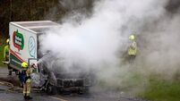 Driver escapes injury after truck burst into flames on motorway