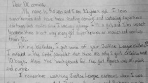 Girl writes passionate letter to DC Comics pleading for more female superheroes