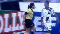 WATCH: Fierce lineswoman berates footballer for questioning decision