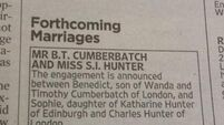 Benedict Cumberbatch announces engagement with newspaper small ad