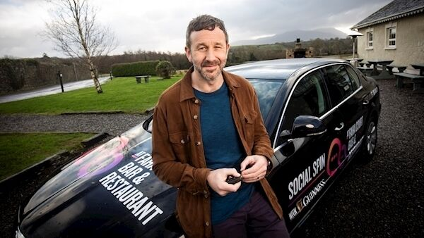Chris O'Dowd and the Social Spin community car. Picture: Julien Behal