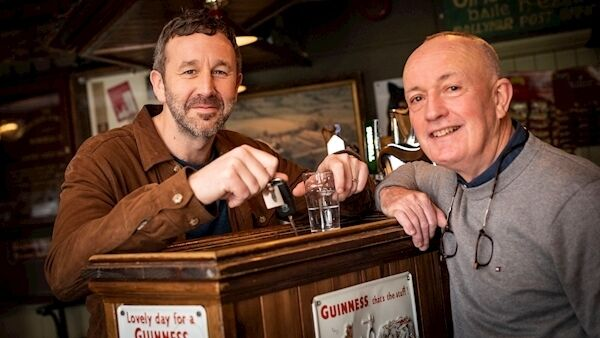 Sean O'Mahony, publican of the Faha Court Pub and Hollywood star Chris O'Dowd. Picture: Julien Behal